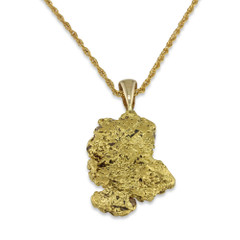 1.4 DWT Natural Gold Nugget Pendant With 14 Karat yellow Gold Bail with Display Chain