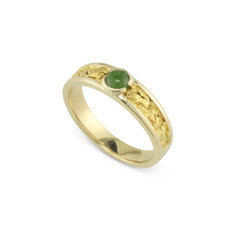 14 Karat Yellow 6x4 MM Natural Gold Nugget Channel Ring Tapered Size 10 With 4 MM Jade Stone