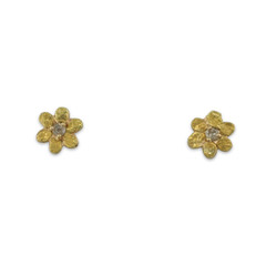 14KY GOLD NUGGET FLOWER EARRINGS WITH DIAMONDS
