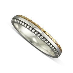 925 Sterling Silver Eternity MilGrain Ring With Gold Nugget Dots Size 6.25
