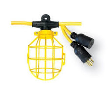08-00191 LIGHT STRING 5-LIGHT 12/3 50' SJTW 300V 20A 125V TWIST LOCK MED DUTY / PLASTIC GUARD