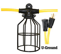08-00199 LIGHT STRING 5-LIGHT 12/3 50' ST 600V 15A 125V U-GROUND HEAVY DUTY / METAL GUAR