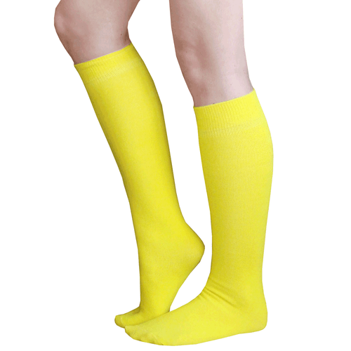 Thin Solid Yellow Knee Highs