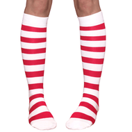white and red candy cane socks