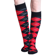 black and red argyle socks