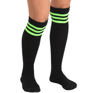 black/neon green striped knee highs