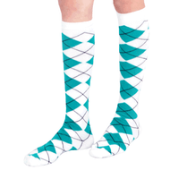 teal argyle knee socks