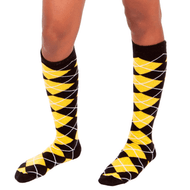 black and yellow argyle socks