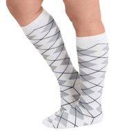 gray argyle knee socks
