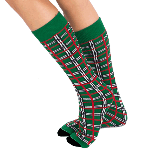 christmas plaid socks