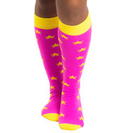 neon pink star socks