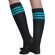 teal and black tube socks