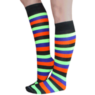 multi-color striped knee highs