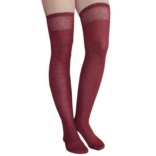 solid colored burgundy thigh highs