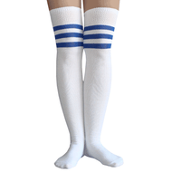 royal blue striped thigh highs