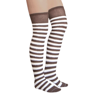 striped brown and white thigh highs