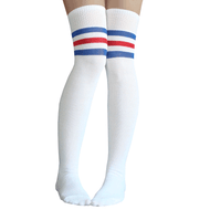 royal blue and red striped thigh highs