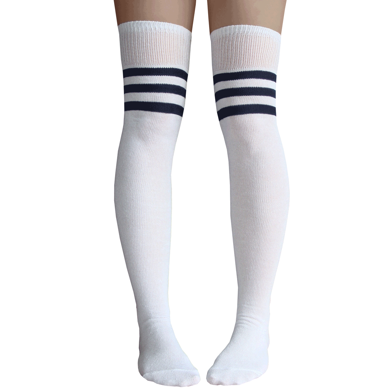 Navy Blue White And Gray Bedroom: White And Navy Blue Striped Thigh Highs