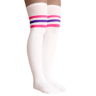 pink and purple striped high socks