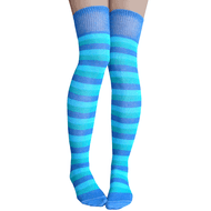 colorful blue over the knee socks