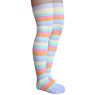 pastel striped over the knee socks
