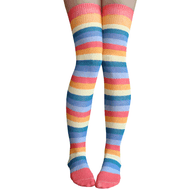 Washed out rainbow over the knee socks