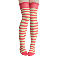 pomegranate and apple striped thigh highs
