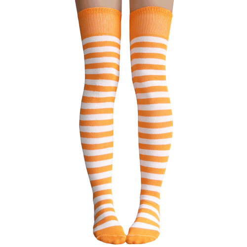 tangerine and white striped socks