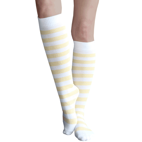 pale yellow striped knee highs