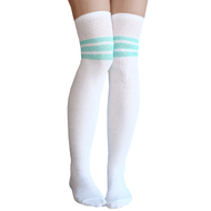 white/mint green thigh highs