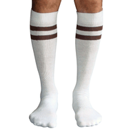 white and brown mens socks