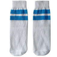 white and electric blue kids socks