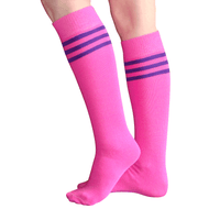 neon pink tube socks with purple stripes