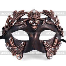 Roman Greek Emperor Masquerade Venetian Mask - Black Copper - 3
