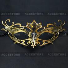 Princess Venetian Masquerade Mask with Diamonds-Gold - 2