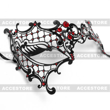 Phantom of Opera Venetian Laser Cut Mask With Rhinestones - Black Red