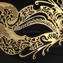 Venetian Fox Masquerade Mask with Rhinestones - Gold - 2
