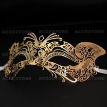 Venetian Fox Masquerade Mask with Rhinestones - Gold - 3