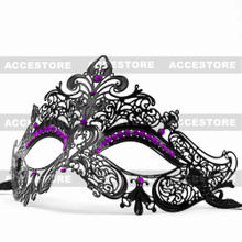 Party Queen Venetian Mask Sparkling Purple Rhinestone-Black - 4