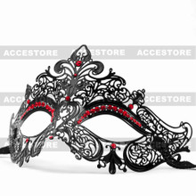 Party Queen Venetian Mask Sparkling Red Rhinestone-Black - 3