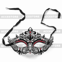 Party Queen Venetian Mask Sparkling Red Rhinestone-Black