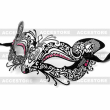 Venetian Fox Masquerade Mask with Rhinestones - Black Pink - 2