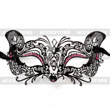 Venetian Fox Masquerade Mask with Rhinestones - Black Pink