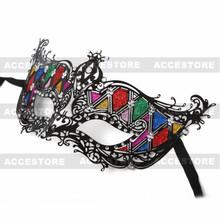 Luxury Venetian Mask Sparkling Rainbow Rhinestones-Black - 2