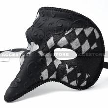 Glitter Swan Masquerade Venetian Men Nose Mask-Black Silver - 3
