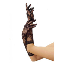 ELBOW LENGTH LACE GLOVES - Black - Image 2
