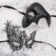 Black Full Face Phantom and Black Silver Swan Mask for Couple