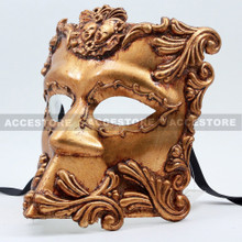 Antique Venetian Men Masquerade Emperor Caesar Bauta Mask-Gold - 4