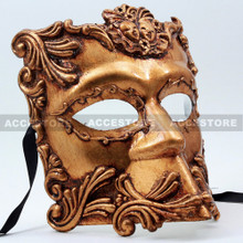 Antique Venetian Men Masquerade Emperor Caesar Bauta Mask-Gold