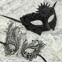 Black Full Face Greek Emperor and Black Silver Swan Mask for Couple